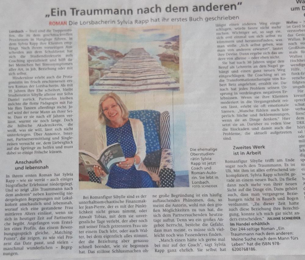 """Zeitungsartikel - Sylvia Rapp über ihr Buch """"Ein Traummann nach dem anderen"""""""