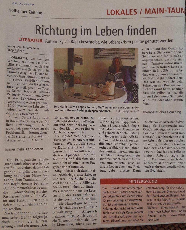 Zeitungsartikel im Lokalteil Main Taunus - Sylvia Rapp - Richtung im Leben finden